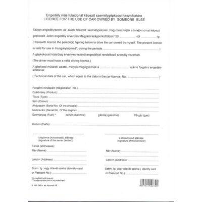 Nyomtatvány engedély más tulajdonát képező gépkocsi használatára